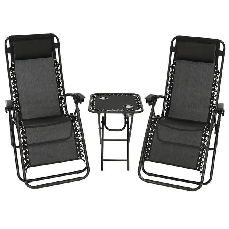 Akari  DECOR 3PC Zero Gravity Outdoor Patio Indoor Lounge Chair Set with Cupholder Table