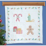 "Jack Dempsey Christmas Window Stamped White Wall Or Lap Quilt, 36"" x 36"""