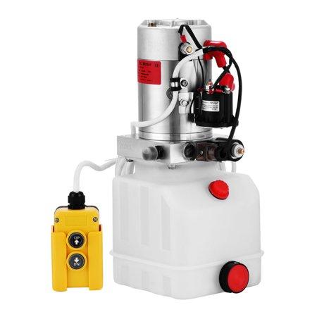VEVOR Hydraulic Pump 4 Quart Single Acting Hydraulic Power Unit 12V DC Plastic Tank Hydraulic Pump Unit for Dump Trailer Car (Hydraulic Trailer)