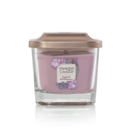 Yankee Candle Sugared Wildflower Elevation Collection with Platform Lid - Small 3-Wick Square -