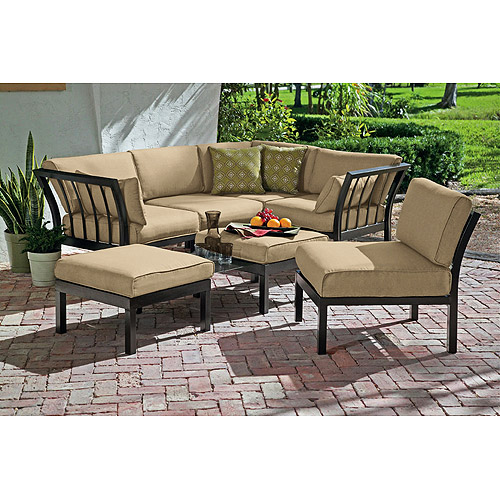 Mainstays Ragan Meadow II 7 Piece Outdoor Sectional Sofa, Seats 5