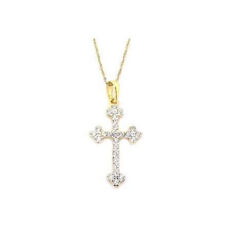 14k Yellow Gold Cubic Zirconia Budded Apostles Cross Pendant Necklace, 13 15 16 18 20 or 22 14k Budded Cross Pendant