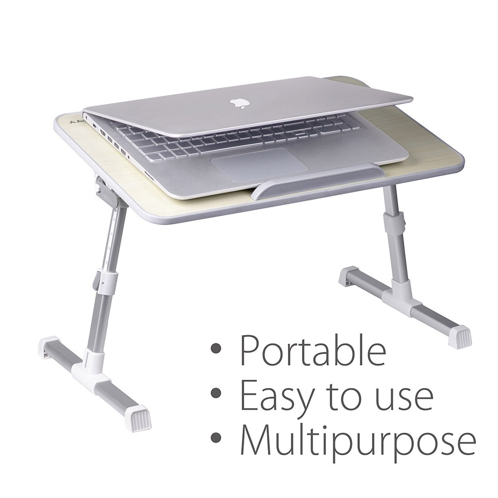 Avantree Minitable Quality Adjustable Laptop Bed Tray, Portable Standing Desk, Foldable Sofa Breakfast Table, Notebook Stand Reading Holder for Couch Floor
