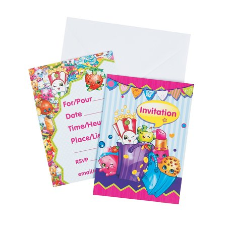 Shopkins Invitations (8pc) for Birthday - Party Supplies - Licensed Tableware - Misc Licensed Tableware - Birthday - 8 Pieces