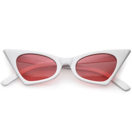 Retro Small High Pointed Cat Eye Sunglasses Tinted Colored Oval Lens 46mm (White / Hot (Black Pointed Sunglasses)