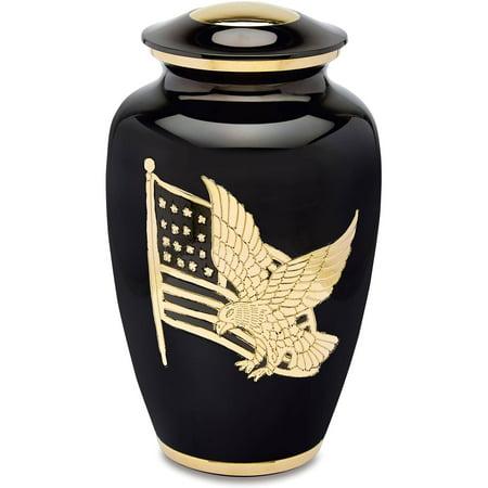 Urns Direct 2U Gold and Black American Pride Adult Cremation Urn, 220 cu