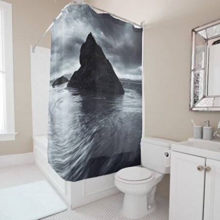DEYOU Wave Shower Curtain Polyester Fabric Bathroom Size 60x72 Inches