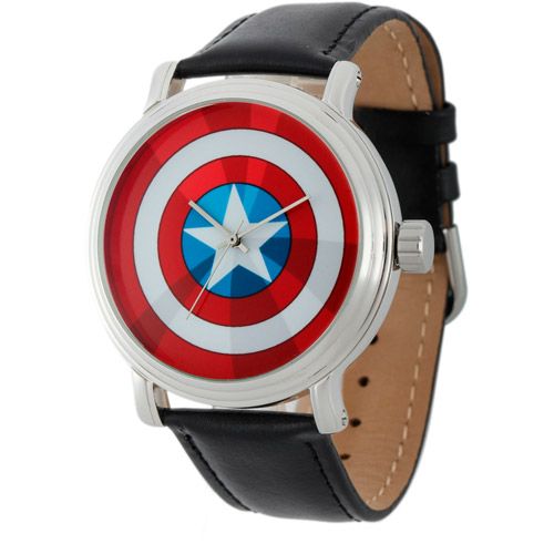 Marvel Captain America Men's Vintage Silver Shiny Alloy Case Watch, Black Leather Strap