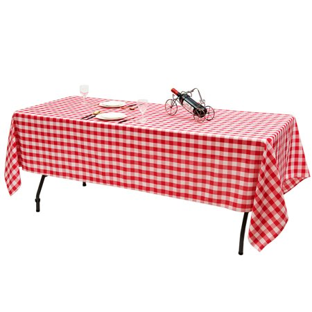 "Gymax 10Pcs 60""x126"" Rectangular Polyester Tablecloth Red & White Checker Party - image 10 of 10"