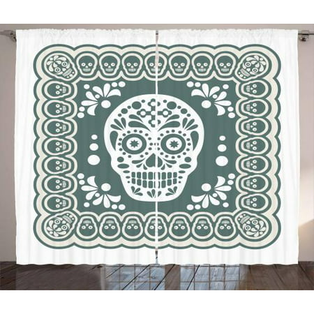 Sugar Skull Curtains 2 Panels Set Mexican Dia De Los Muertos Symbol