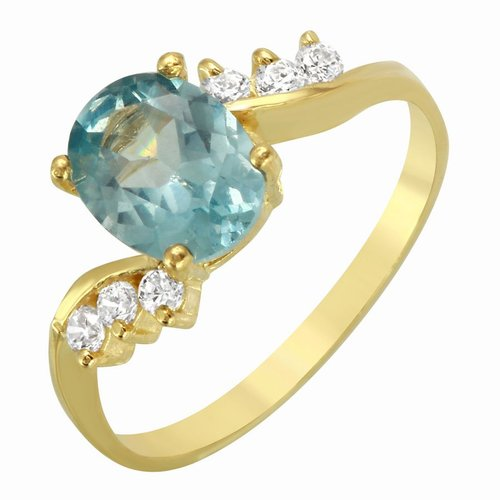 Foreli 14K Yellow Gold Ring With Aquamarine Cubic Zirconia by Generic