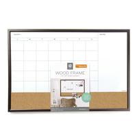 """U Brands 3-in-1 Dry Erase Calendar Whiteboard, 30"""" x 20"""", Brown, 2222U"""