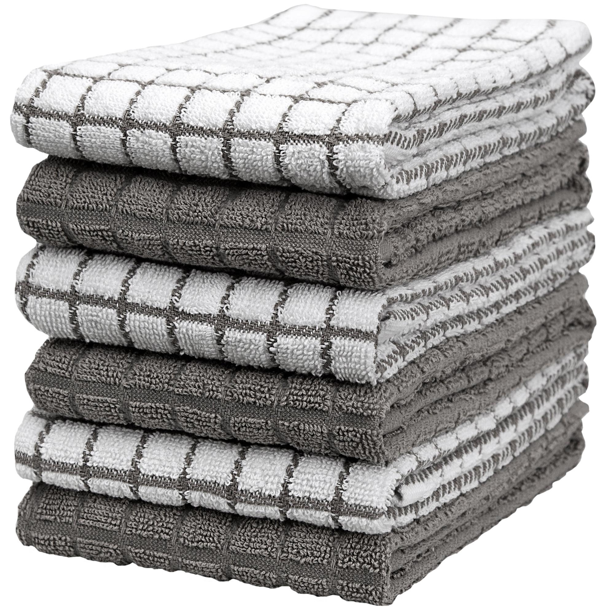 """premium kitchen towels (16""""x 28"""", 6 pack) - large cotton"""