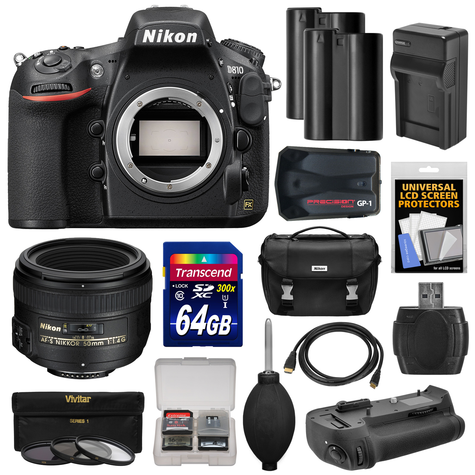 Nikon D810 Digital SLR Camera Body with 50mm f 1.4 Lens + 64GB Card + 2 Batteries + Charger + Case + GPS... by Nikon
