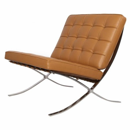 eMod - Pavilion Barcelona Chair in Italian Leather Light Brown