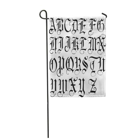 KDAGR English Gothic Old Letters Alphabet Goth ABC Antique Black Garden Flag Decorative Flag House Banner 12x18 inch - Old English Letter Alphabet