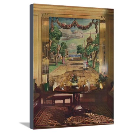Panel showing Regency Brighton, flanked by mirrored glass pilasters, 1933 Stretched Canvas Print Wall Art (Paneled Pilaster)