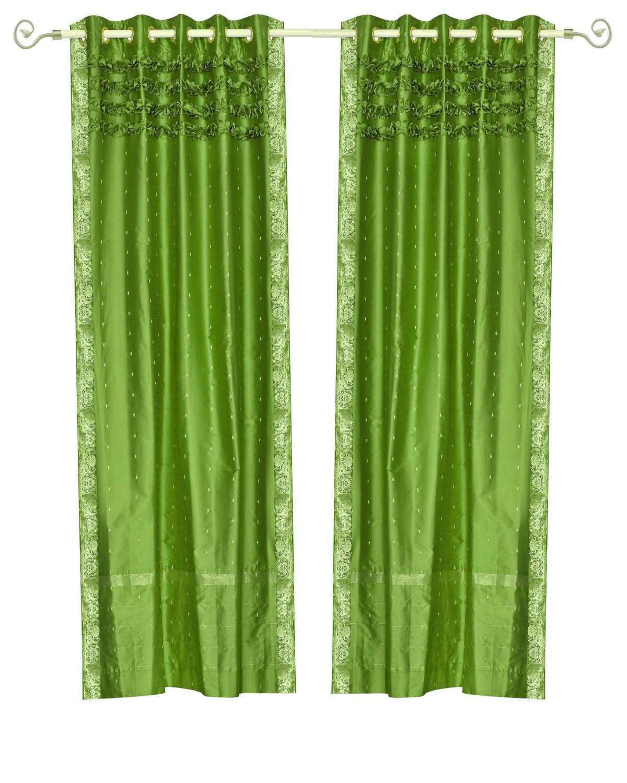 Forest Green Hand Crafted Grommet Top Sheer Sari Curtain Panel Piece Walmart Com Walmart Com