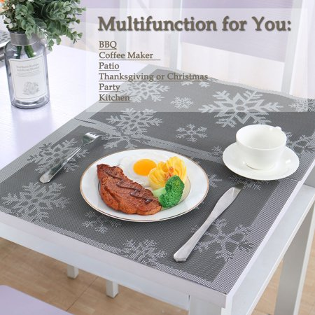 Placemats Set of 4 PVC Heat-resistant Insulation Non-SlipTable Mats Gray 2 ()