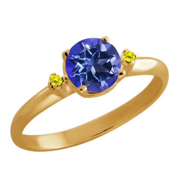 1.02 Ct Purple Blue Mystic Topaz and Canary Diamond Gold Plated 925 Silver Ring