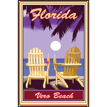 Palm Pre Metal (Vero Beach Florida Adirondack Chairs Palms Corona Metal Art Print by Joanne Kollman (12