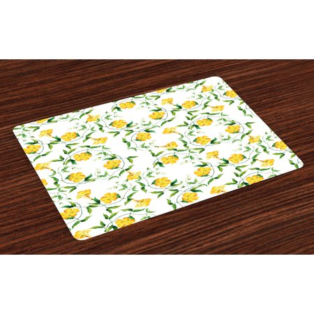 Yellow Flower Placemats Set of 4 Romantic Botanical Theme Bindweed Florets Shabby Design in Watercolors, Washable Fabric Place Mats for Dining Room Kitchen Table Decor,Yellow Jade Green, by - Jade Placemat