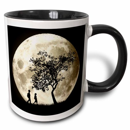 3dRose Full Moon silhouette of people walking near a tree and under a bright full moon, Two Tone Black Mug, 11oz