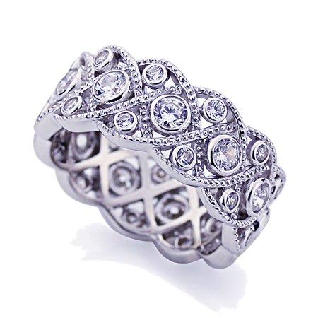 Platinum Vintage Ring - Men Women Platinum Plated Sterling Silver 1.75ct CZ Wedding Band Vintage Eternity Ring ( Size 5 to 9 )