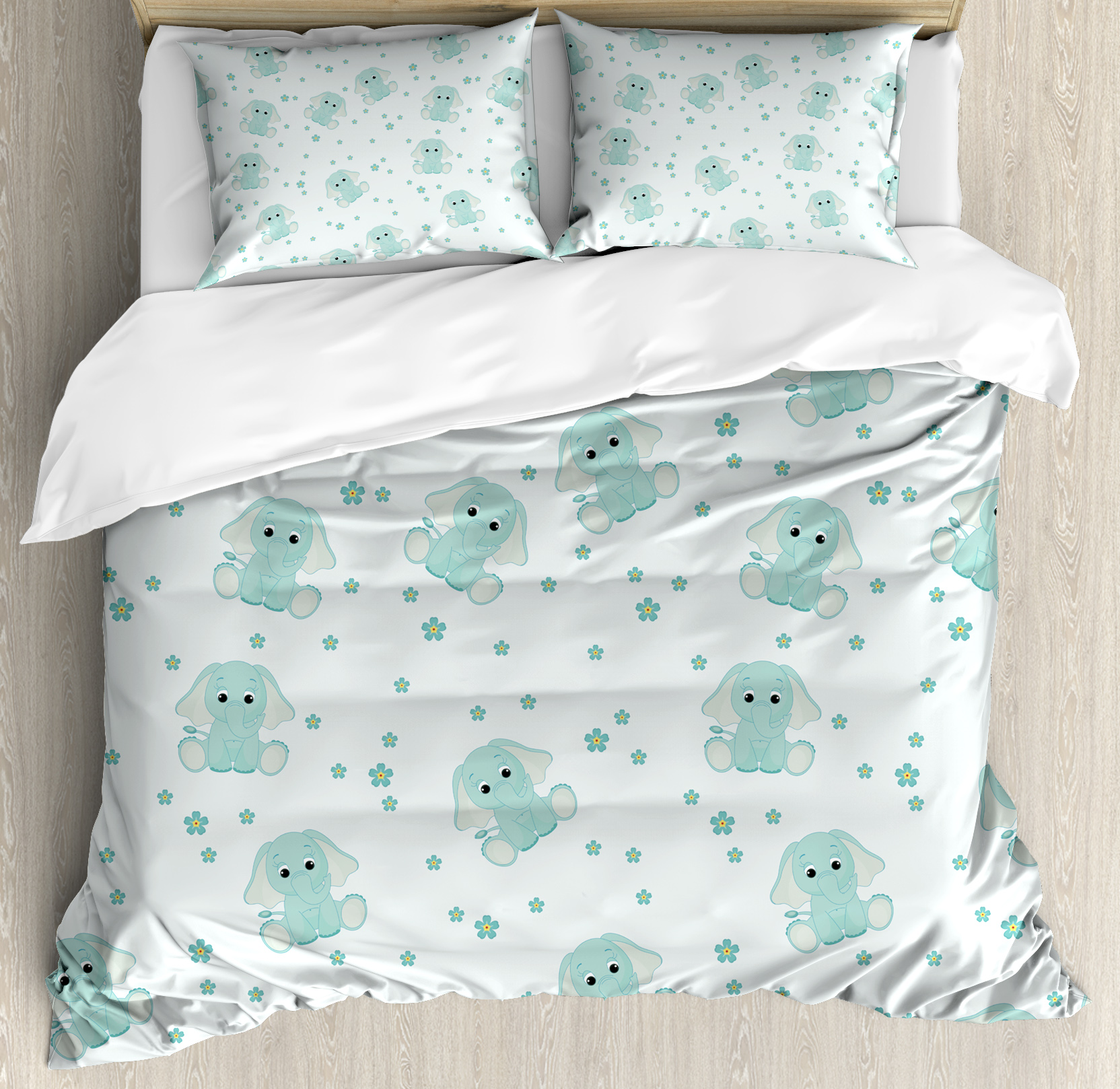 Elephant Nursery Decor King Size Duvet Cover Set, Young Elephants in Spring Meadow Daisies... by Kozmos