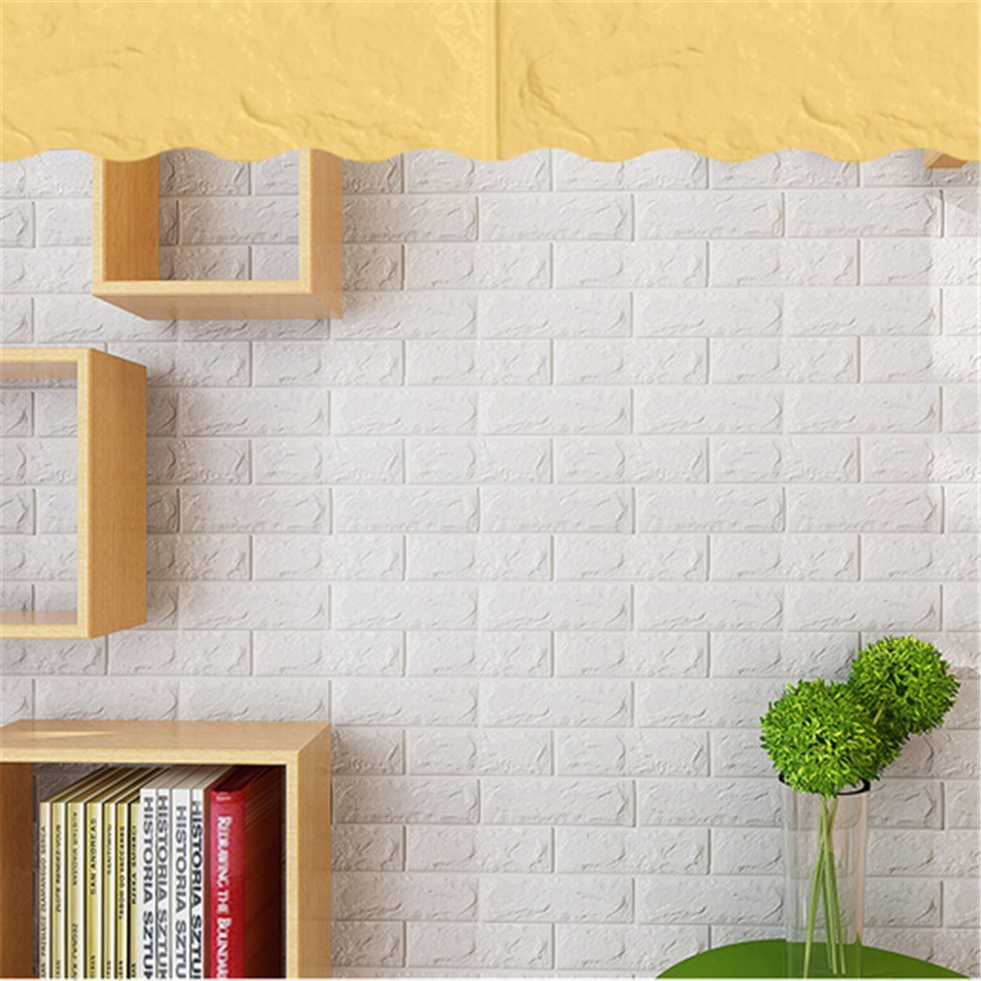 NK HOME Peel and Stick 3D White Brick Wall Stickers Panels Wallpaper  Bedroom Living Room Modern Decor Decal Accent Sofa Background TV Walls 5  Piece