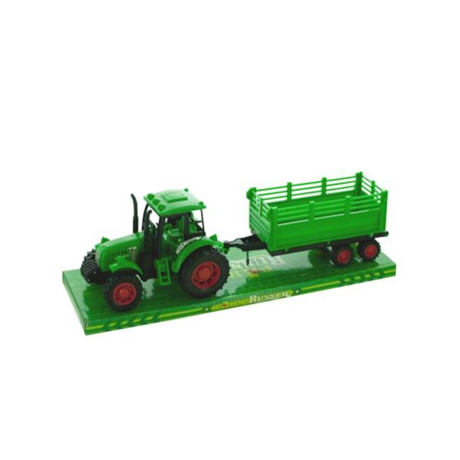 Kole Imports KL238-16 17 x 3.25 in. Friction Powered Farm Tractor Trailer Truck with Roller, Pack of 16 by Kole Imports