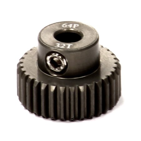 - Integy RC Toy Model Hop-ups C24277 Billet Machined Hard Anodized Aluminum 64 Pitch Pinion 32 Teeth for 0.125 Shaft