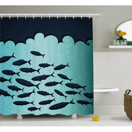 Ocean Animal Decor Shower Curtain  Surreal Graphic With Ornate Swirl Waves And Group Of Fish Dive Nautical Theme  Fabric Bathroom Set With Hooks  69W X 70L Inches  Blue  By Ambesonne