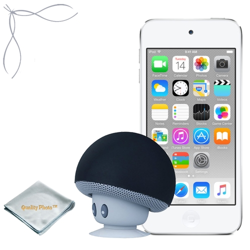 Apple iPod touch Silver 16GB (6th Generation) - Mushroom Bluetooth Wireless Speaker/Ipod Stand - Quality Photo cloth
