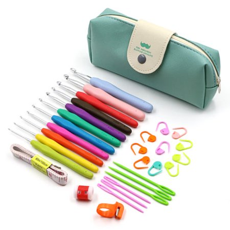 Meigar Crochet Hooks Set Ergonomic Soft Handles Aluminum Blunt Needles Knitting Needle 2.0mm-8.0mm, Best Christmas Gifts for Mom ()