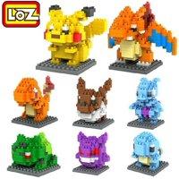 LOZ 8box Diamond Block Pokemon Pikachu Bulbasaur Charmander Charizard Building Blocks 1180pcs Games Children's Toys