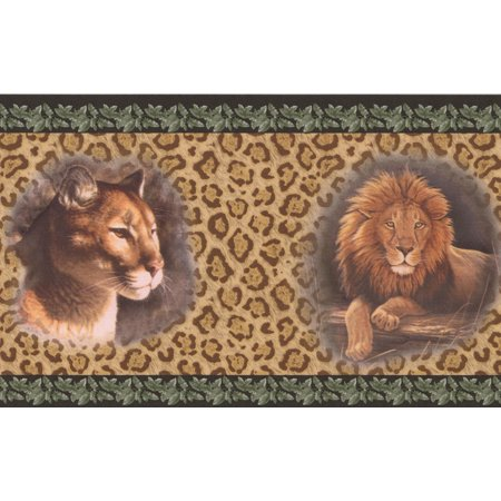 Lion Jaguar Pictures on Leopard Print Wall Beige Animal Wallpaper Border Retro Design, Roll 15' x 7''](Halloween Themed Anime Wallpaper)