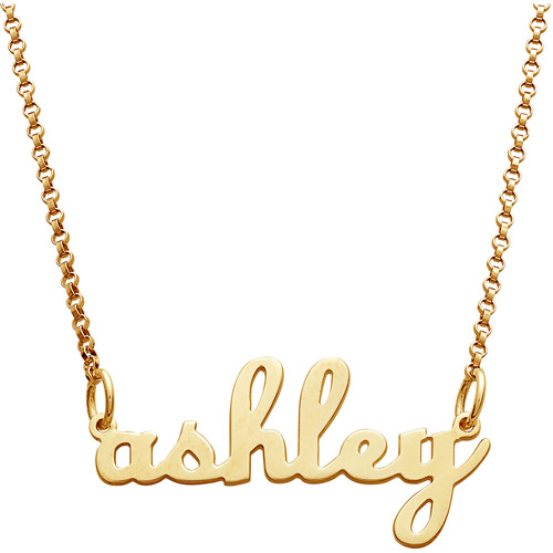 Personalized Women's Gold over Sterling Silver Lowercase Script Name Necklace