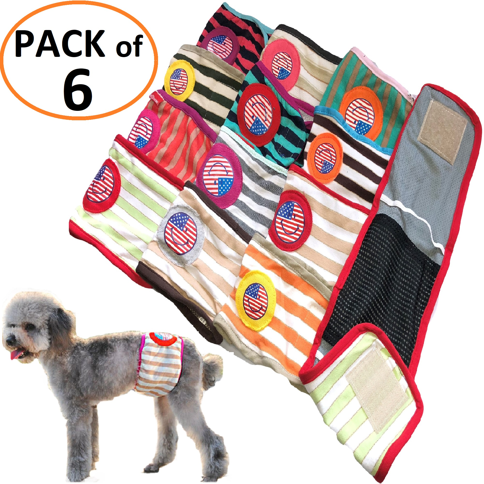 "PACK of 6pcs Dog Diapers RANDOM Colors Male Boy BELLY BAND Wrap For Small Pet sz XXS: waist 8"" - 9"""