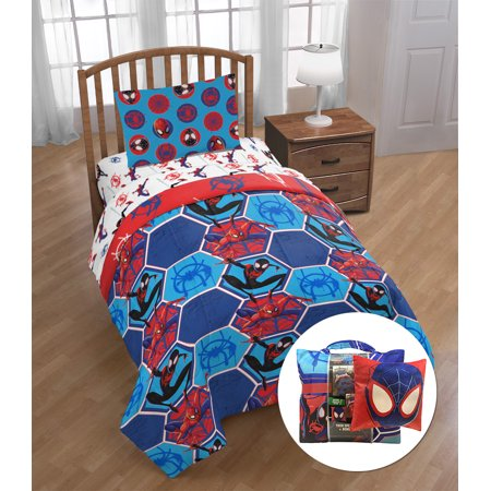 Marvel Spider-Man Twin Bed in a Bag Kids Bedding Set with Bonus Tote, Red & Blue ()