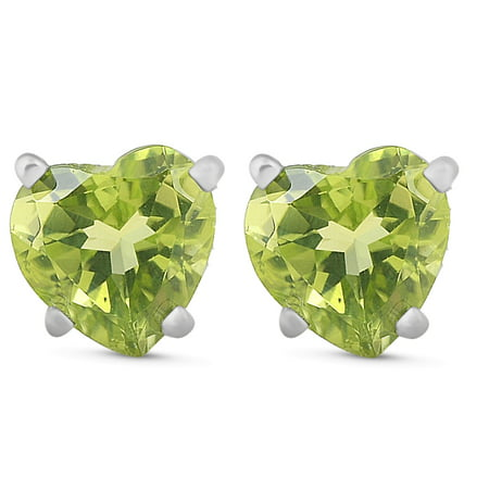 1ct Heart Shape Peridot Studs Solid 14K White Gold