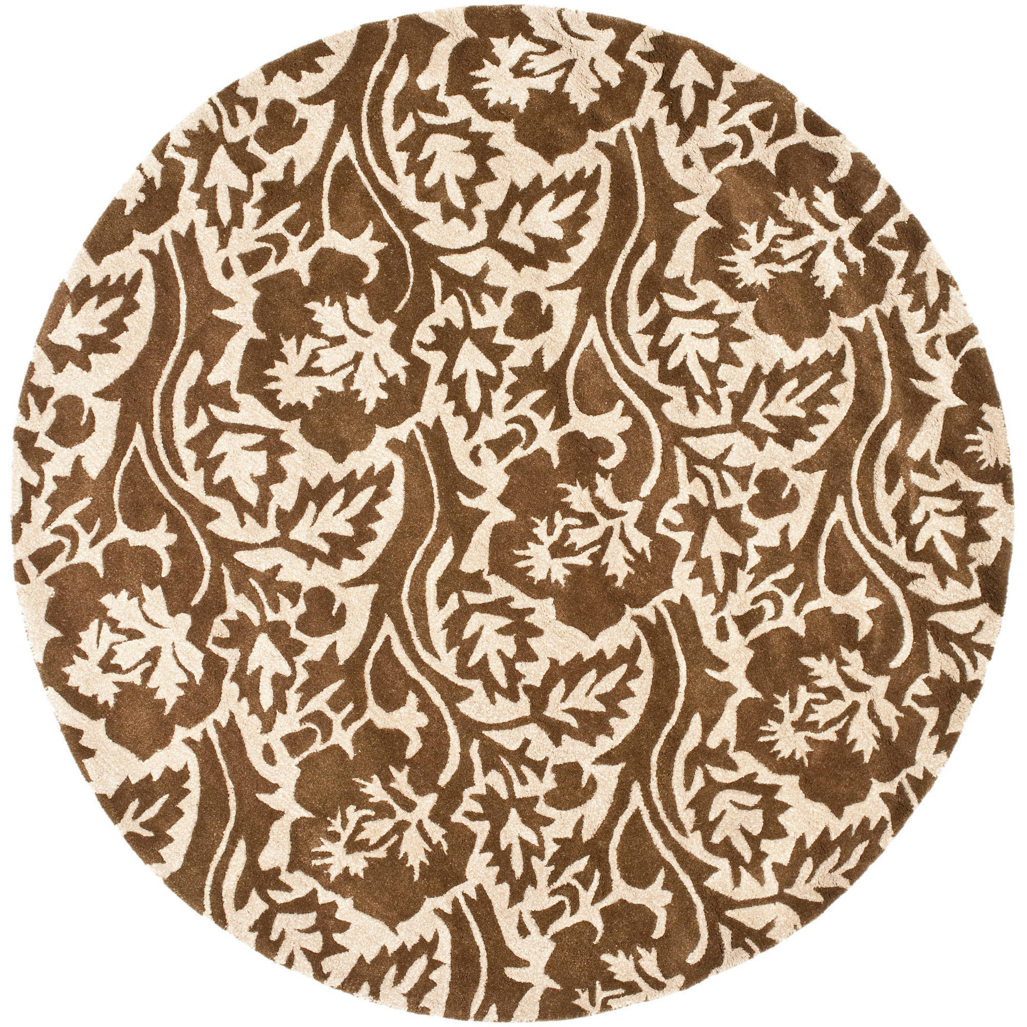 Safavieh Soho Autumn Wool Round Rug, Brown/Ivory, 6'