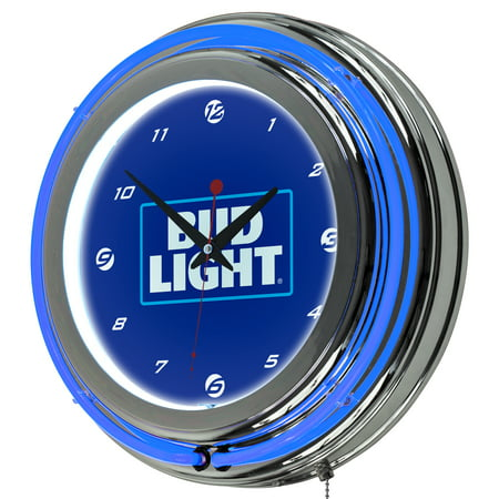 Image of Bud Light 14 Inch Neon Wall Clock - Block Text