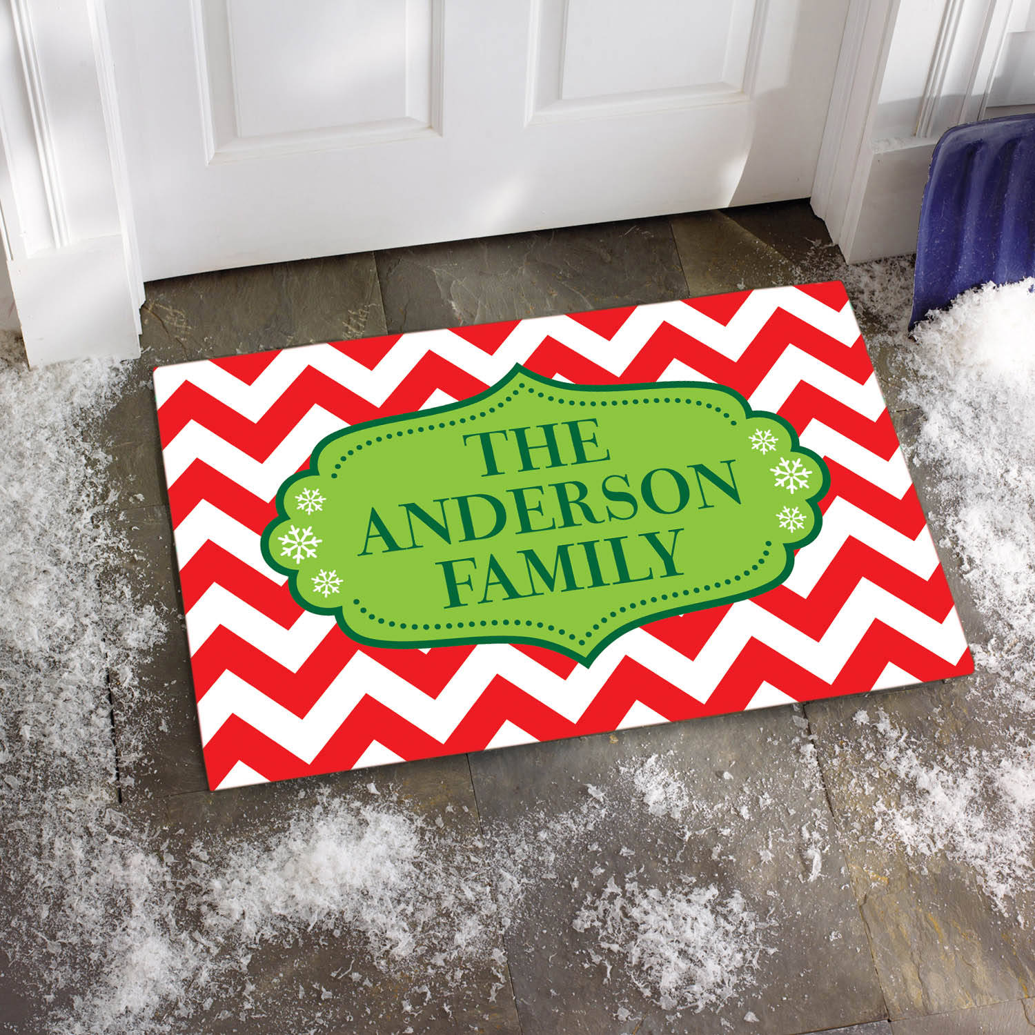 Personalized Red/White Chevron Family Doormat, Available in Multiple Sizes