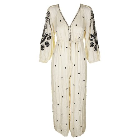 Free People Womens Wide-Leg Sheer Jumpsuit Ivory XS