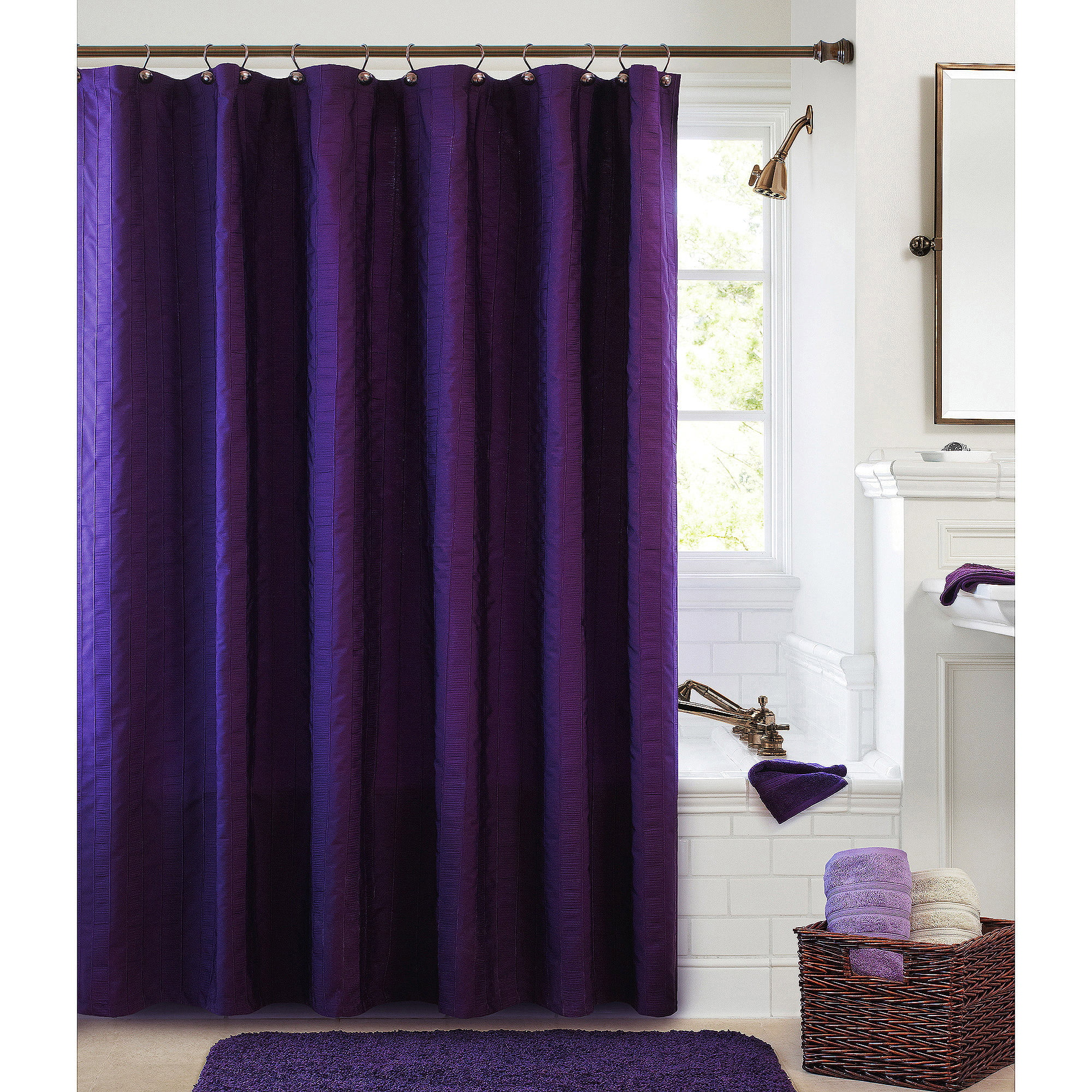 purple and grey shower curtain. Better Homes and Garden Gathered Stripe Fabric Shower Curtain  Walmart com