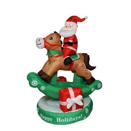 5' Inflatable Animated Santa Claus on Rocking Horse Lighted Christmas Yard Art Decoration