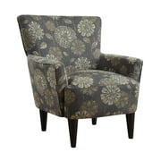 Emerald Home Flower Power Cascade Pewter Accent Chair with Fabric Upholstery, Flared Arms, And Welt Trim