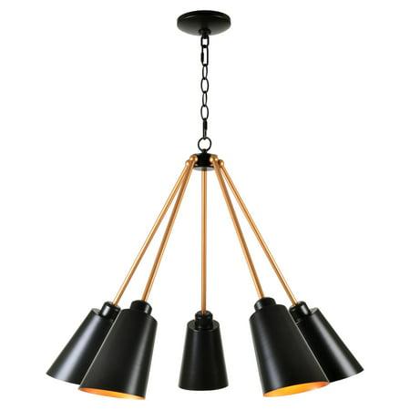 - Kenroy Home Alvar Matte Black with Antique Brass inside 5 Light Chandelier