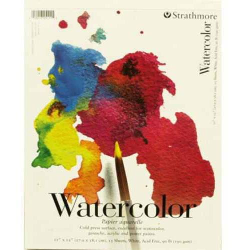 "Strathmore 200 Student Grade Watercolor Pad, 11"" x 15"", 15 Sheets"